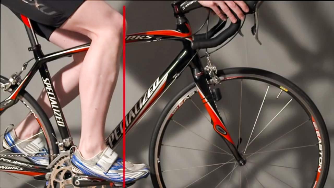 Senkrechte Linie durch Knie und Pedal